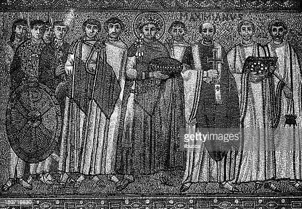 mosaic in san vitale basilica, ravenna, italy: emperor justinian i - justinian i stock illustrations