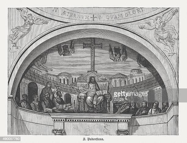 ilustrações de stock, clip art, desenhos animados e ícones de mosaico da igreja de santa pudenziana em roma, publicada em 1878 - nicho