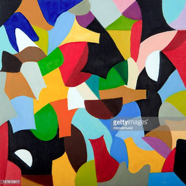 Mosaic of colors combined in geometric shapes (oil painting)