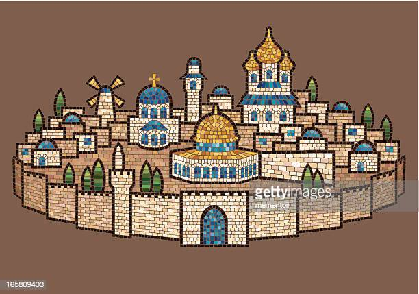 mosaic of jerusalem - historical palestine stock illustrations