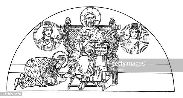 ilustrações de stock, clip art, desenhos animados e ícones de mosaic painting from the sophia church in constantinople - nicho