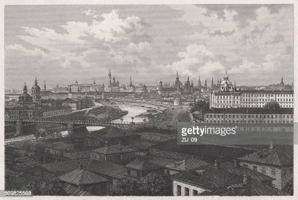 ilustrações, clipart, desenhos animados e ícones de moscou, capital da rússia, gravura de aço, publicado em 1887 - cultura russa