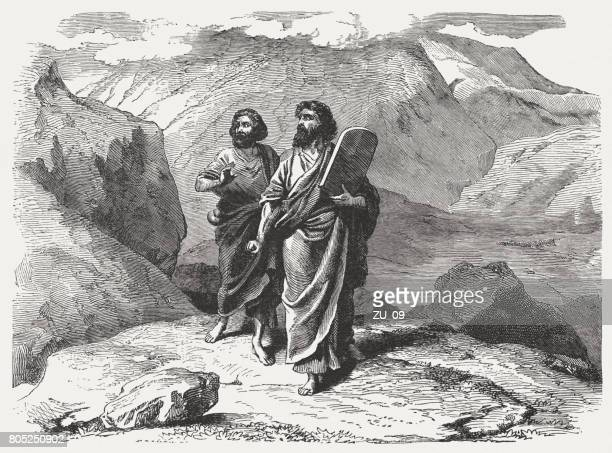 moses and joshua come back from mount sinai (exodus 32) - joshua laws stock illustrations