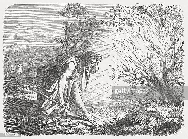 モーゼズと燃える bush (exodus 3 ,1 -5 ) - 宗教的人物 モーゼ点のイラスト素材/クリップアート素材/マンガ素材/アイコン素材