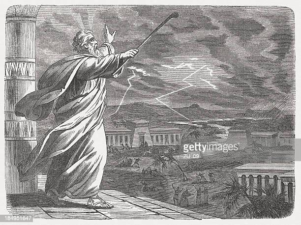 moses and the seventh blow (exodus 9, 22-26), published 1877 - hailstone stock illustrations, clip art, cartoons, & icons
