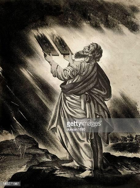moses and the ten commandments - hebrew script stock illustrations, clip art, cartoons, & icons