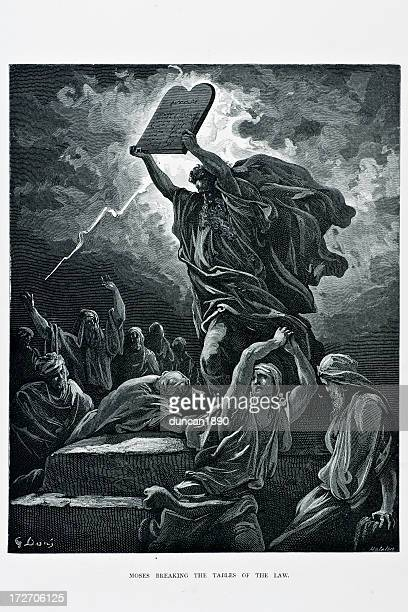 moses breaking tables of the law - gustave dore stock illustrations, clip art, cartoons, & icons