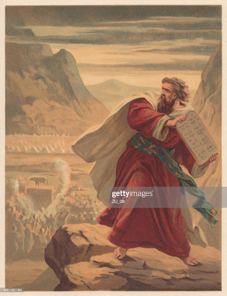 Moses Breaks the Tablets of Law, chromolithograph, published in 1886 : stock illustration