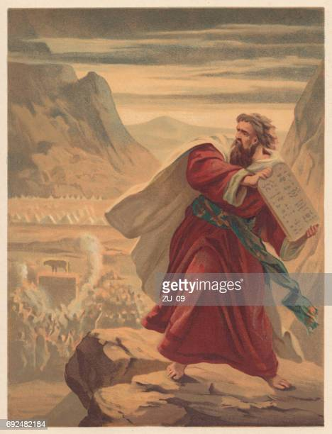 Moses Breaks the Tablets of Law, chromolithograph, published in 1886