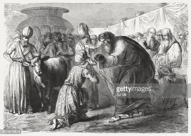 モーセはアロンとその息子 (出エジプト記 29) の司祭にはぐくみ - 宗教的人物 モーゼ点のイラスト素材/クリップアート素材/マンガ素材/アイコン素材
