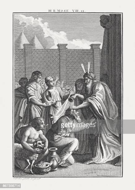 Moses consecrations Aaron to the high priest (Leviticus 8, 12)