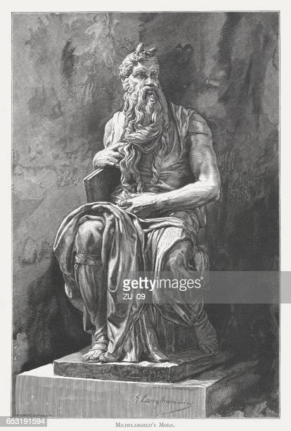 moses, created (c.1513/15) by michelangelo, san pietro in vincoli, rome - high renaissance stock illustrations