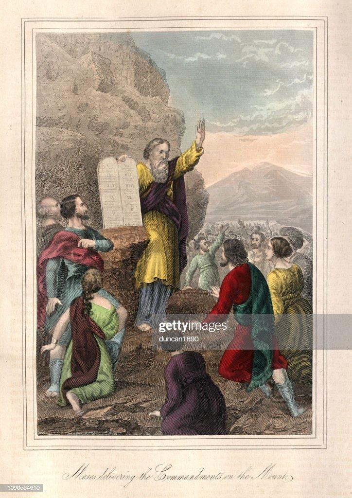 摩西在山上傳遞戒律 : 插圖檔
