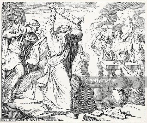 ilustrações de stock, clip art, desenhos animados e ícones de moisés destruir a os dez mandamentos e cria de ouro - monte sinai