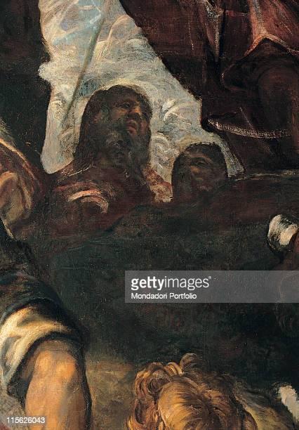 Italy, Veneto, Venice, Scuola Grande di San Rocco, Upper Hall. Whole artwork. Male figure man with beard clouds bottom right.