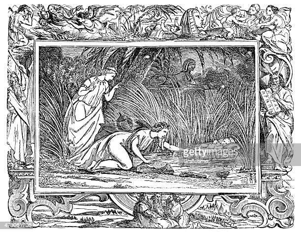 ilustraciones, imágenes clip art, dibujos animados e iconos de stock de moses en cesta al río nilo - personas leyendo la biblia