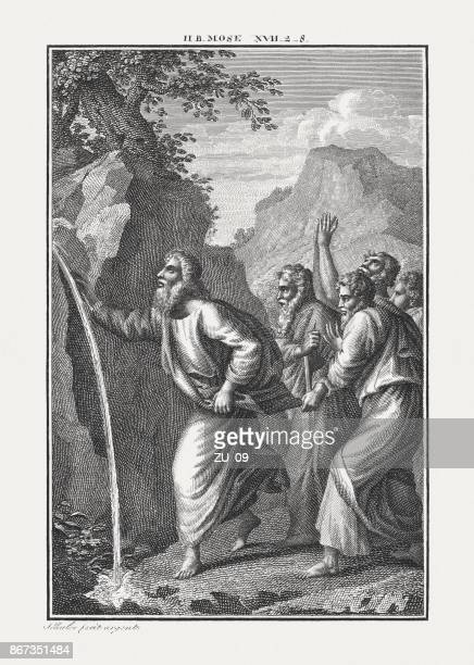 ilustrações de stock, clip art, desenhos animados e ícones de moses striking the rock (exodus 17), copperplate engraving, published c.1850 - monte sinai