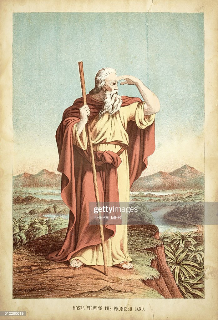 Moses viewing the promised land engraving : 插圖檔