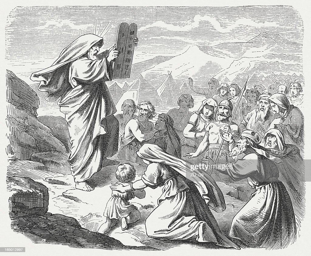 Moses with the New Tablets (Exodus 34, 29-33) : Stock Illustration