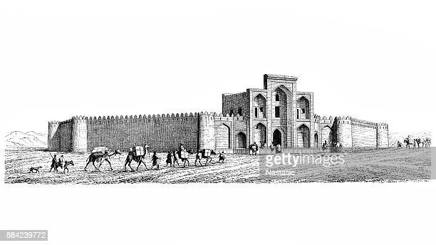 mosque and caravan of camels - isfahan stock illustrations