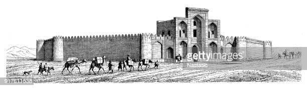 mosque and caravan of camels - shiraz stock illustrations