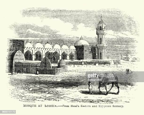 mosque at al luhayyah (loheia), yemen, 19th century - yemen stock illustrations, clip art, cartoons, & icons