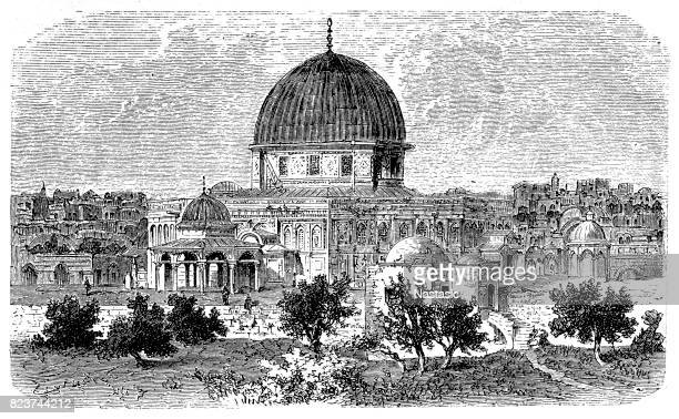 mosque of omar, jerusalem - jerusalem stock illustrations, clip art, cartoons, & icons