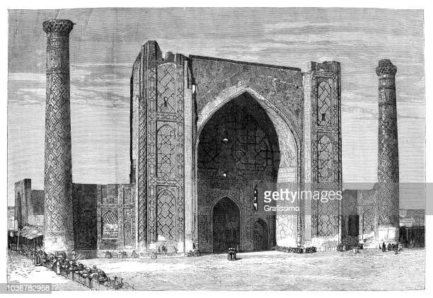 steel engraving ulugh beg madrasah registan