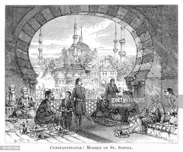 mosuqe turkey engraving 1881 - hookah stock illustrations, clip art, cartoons, & icons