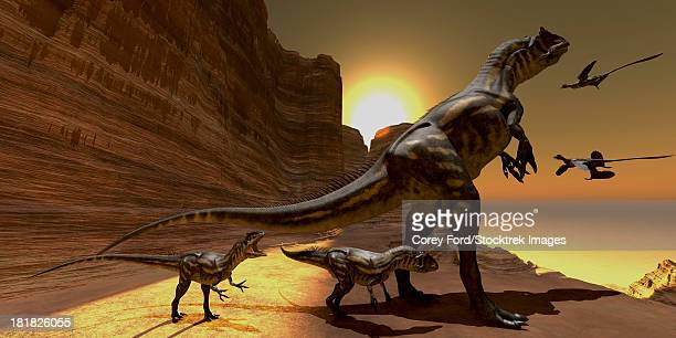 Mother Allosaurus watches as two Archaeopteryx birds fly to mountain cliffs to roost for the night.