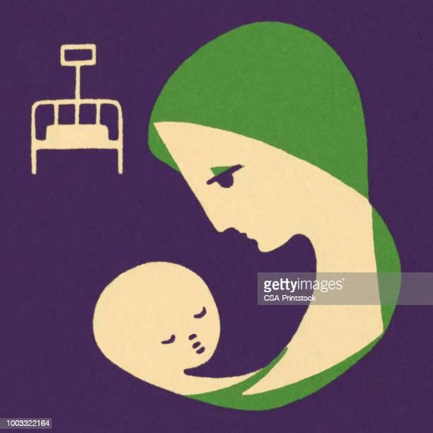 illustrations, cliparts, dessins animés et icônes de mère et bébé  - assistante maternelle