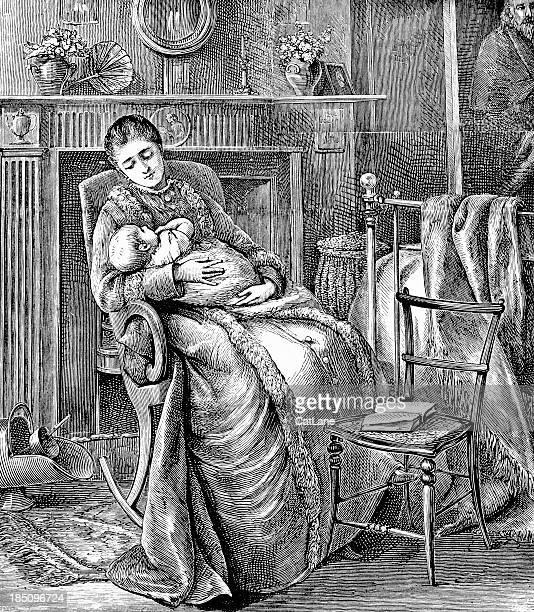 ilustraciones, imágenes clip art, dibujos animados e iconos de stock de madre y bebé-ilustración victoriano - baby blanket