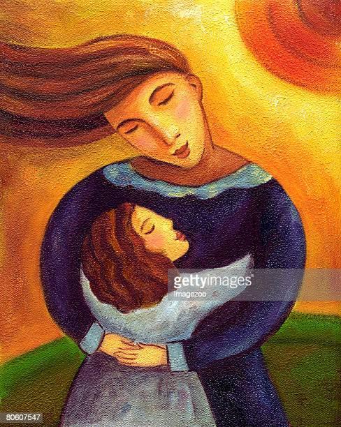 ilustraciones, imágenes clip art, dibujos animados e iconos de stock de a mother and child hugging - madre e hija