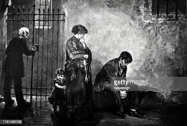 ilustrações, clipart, desenhos animados e ícones de a matriz e a criança visitam seu marido na cadeia - 1887