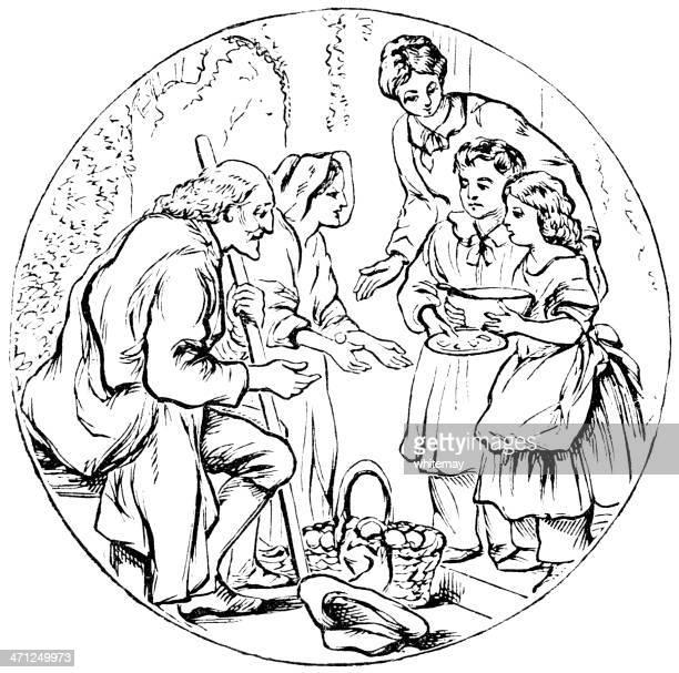 ilustraciones, imágenes clip art, dibujos animados e iconos de stock de madre y niños ofrecer comidas a un mal pareja - gracias por su atencion