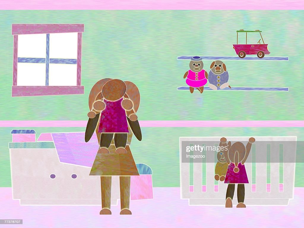 mother and children in baby's room : Illustration