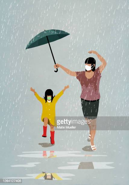 mother and daughter in face masks running playfully in rain - outdoors stock illustrations