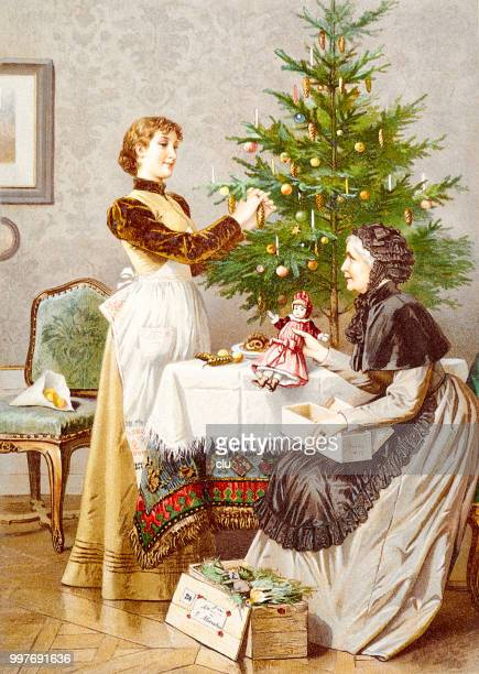 mother and daughter prepare the christmas tree - 19th century style stock illustrations