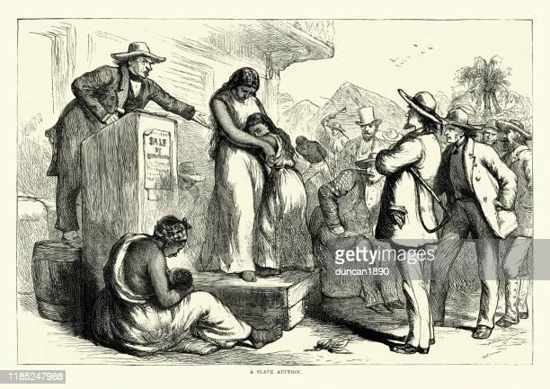 illustrations, cliparts, dessins animés et icônes de mère et fille vendues à slave auction, southern usa, 1860s - image du xixème siècle