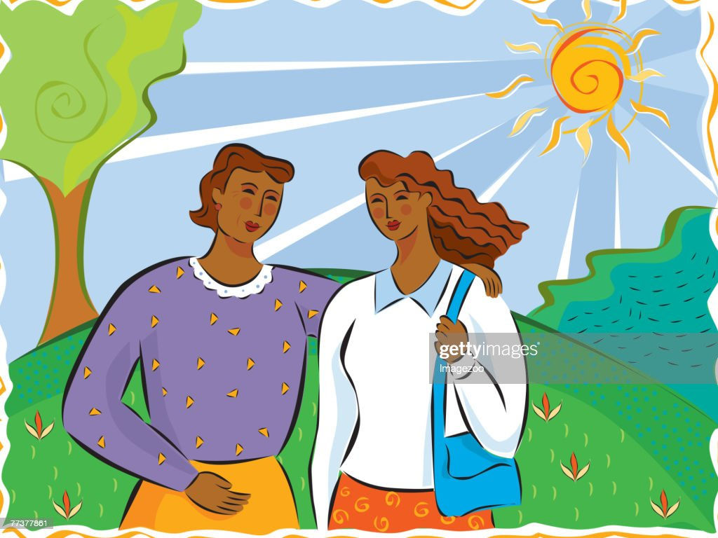 Mother and daughter talking and walking together : Illustration