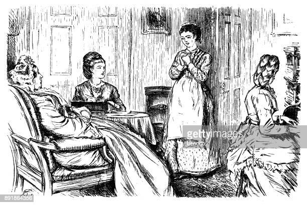 Mother and daughter talkning with maid