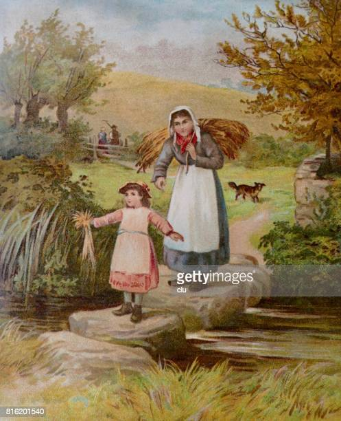 Mother and daughter walking across a creek, bringing home the hay