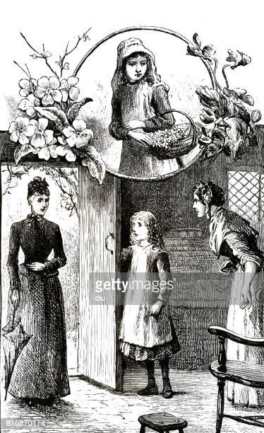 mother and daughter welcoming elegant lady - 8 9 years stock illustrations, clip art, cartoons, & icons