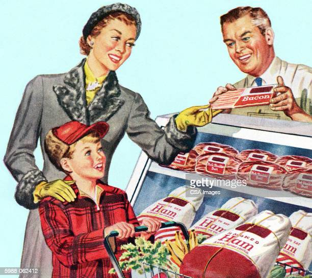 mother and son buying bacon - consumerism stock illustrations