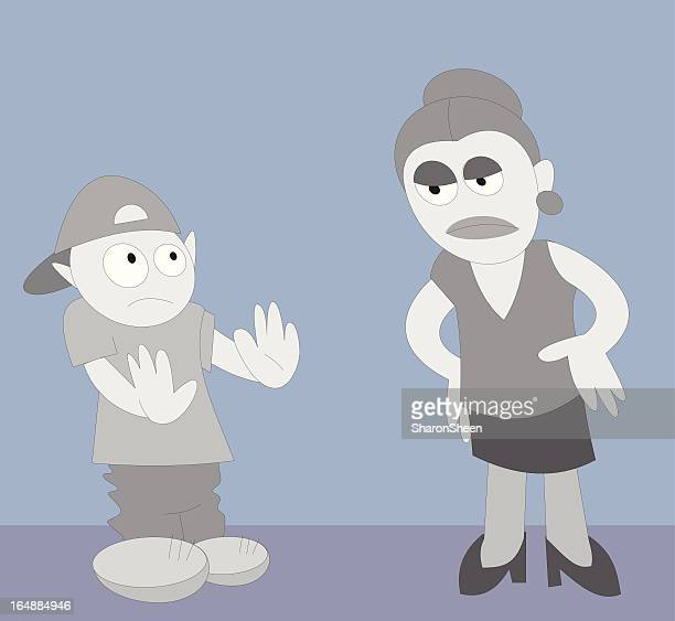 mother and son - family fighting cartoon stock illustrations