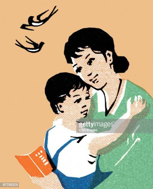 mother and son - embracing stock illustrations