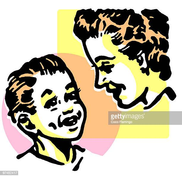 a mother and son - tiziano vecellio stock illustrations, clip art, cartoons, & icons