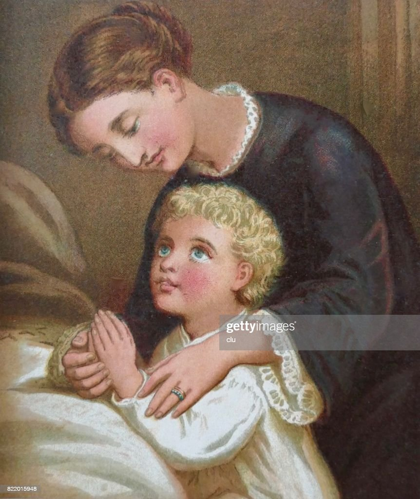 Mother and son praying at bed : stock illustration
