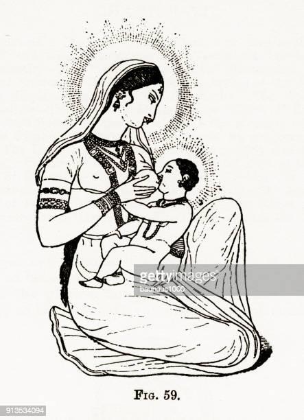 ilustraciones, imágenes clip art, dibujos animados e iconos de stock de madre y bebé lactante, madonna, christian simbolismo grabado - personas leyendo la biblia