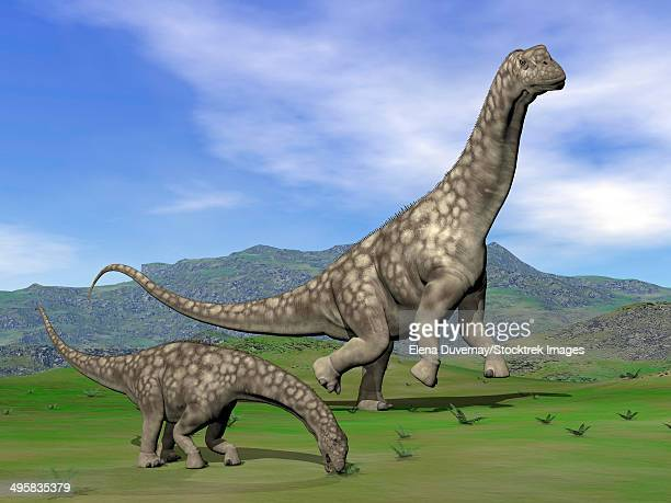 Mother Argentinosaurus dinosaur and baby grazing a green landscape.